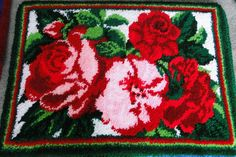 Roses Latch Hook Rug by GrandpasLatchHook on Etsy, $70.00