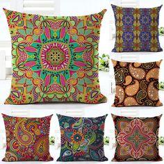Ethnic Bohemian Style Cotton Linen Decorative Pillow Case Vintage Geometric Chair Seat Square Pillow Cover Home Textile Sofa Cushion Covers, Pillow Covers, Decorative Pillow Cases, Throw Pillow Cases, Throw Pillows, Cushions For Sale, Printed Cushions, Textiles, Bohemian