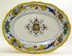 Discount Tuscan Decor | Italian Ceramics Majolica Raffaellesco Oval Serving Platter
