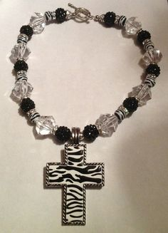 Zebra Cross Beaded Necklace by sassygirlsx3 on Etsy, $25.95