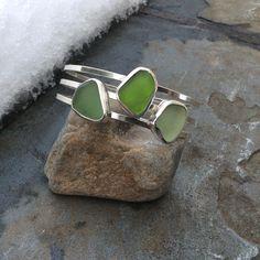 Sea glass jewelry, Bezel set shades of green sea glass bangle bracelet by FatCatsOnTheBeach on Etsy