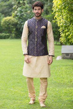Fawn Kurta With Royal Blue Jacket <br> Fawn Kurta With Royal Blue Jacket Wedding Kurta For Men, Wedding Dresses Men Indian, Wedding Dress Men, Wedding Suits, Wedding Couples, Wedding Ideas, Kurta Pajama Men, Kurta Men, Engagement Dress For Men