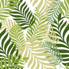 Green palm tree leaves. Vector seamless pattern. Nature organic background. vector art illustration