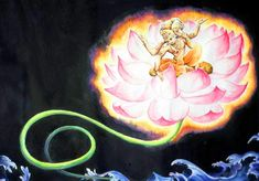 Creation by Brahma-After a period of 1000 Maha-Yugas, a lotus bud emerges from the navel of the Lord, inside which is Brahma or Ka, the First MORTAL Being in each Universe. The stem of this cosmic lotus connecting Brahma to the Navel of the Lord, signifies the Umbilical Cord that binds a baby to its mother! In a sense, Lord Garbhodak-shayi Vishnu is the Father as well as Mother of ALL creation beginning first and foremost with Lord Brahma.
