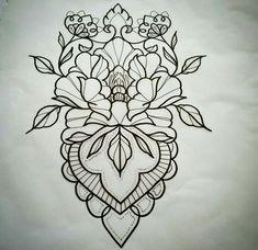 Leaves incorporated into design. Mandala Tattoo Design, Mandala Arm Tattoo, Tattoo Designs, Tatoo Henna, Geometric Tattoo Design, Tattoo Motive, Tattoo Sketches, Tattoo Drawings, Body Art Tattoos