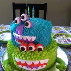my sons monster bash birthday cake!!!!!! so super cute and all the kids loved it!!!!