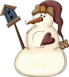 Rustic Country Style Snowman Clipart Picture