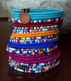 SALE - BIG 45X Wrap Festival Beaded Bracelet, Indian Color Wrap Bracelet, Memory Wire Bracelet, Beaded Bracelet Cuff, Stacked Bracelet
