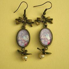 Crotte de poule-bijoux fantaisie-oiseaux-fleurs-original