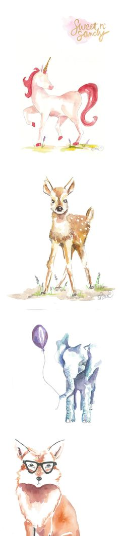 adorable water color prints for nursery