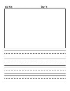 Freebie Primary Writing Paper Vertical Design With Ilration Box And Lines 2 Pages