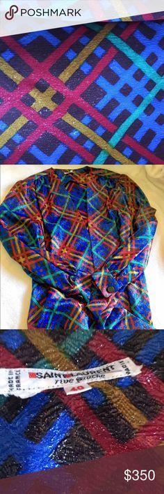 Saint Laurent Rive Gauche Vintage Metallic Silk Amazing detail and quality. Saint Laurent Tops