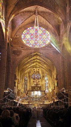 Cathedral of Santa Maria of Palma, Mallorca, Islas Baleares, Spaain Cathedral Basilica, Cathedral Church, Menorca, Gothic Architecture, Historical Architecture, Places To Travel, Places To Go, Tenerife, Ibiza