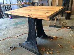 This industrial piece was made with all salvaged material from a industrial building in V.A. stop in and see us..