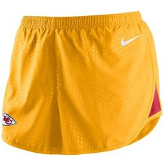 Nike Women's Kansas City Chiefs Mod Tempo Shorts ($23) ❤ liked on Polyvore featuring activewear, activewear shorts, gold, nike activewear, nike sportswear, logo sportswear and nike