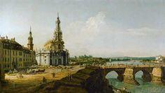 Bernardo Bellotto - Dresden, Germany, seen from the left ban
