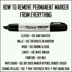 How To Remove Permanent Marker - doesn't mention tea tree oil, but that works incredibly well!
