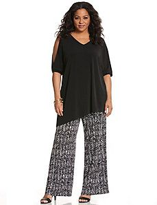 Simply Chic matte Jersey printed wide leg pant not crazy about the holes in the sleeves but it looks slenderizing