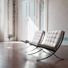 Mies van der Rohe - Weiße Sessel in Bauhaus-Stil - Barcelona Möbel