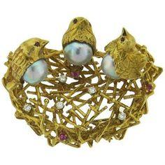 Adorable Pearl Ruby Diamond 18k Gold Bird Nest Brooch Pin
