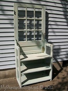 25 Ways To Repurpose & Reuse Old Vintage Wood Doors. I can totally see this done in combo with an old dresser: dresser or sturdy bookshelf used as the seating portion, and keeping the drawers or shelves as additional storage. Would go good with the concrete blocks bench idea for outside.