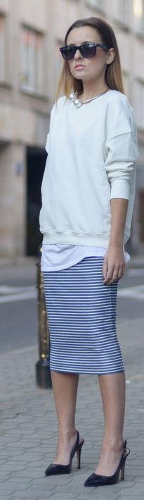 F & F Black And White Stripe Nautical Pencil Midi Skirt