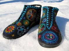felted boots with archaic embroidery
