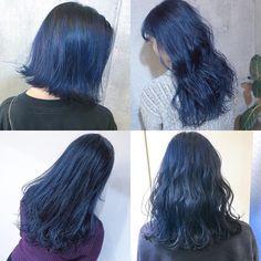"1,613 Likes, 3 Comments - SHACHU (@shachu_hair) on Instagram: ""hair miyakoshi ネイビー、ブルーカラー . #hair#ヘアカラー#ハイトーンカラー"""