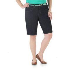 Riders By Lee Women's Denim (Blue) Belted Bermuda Short, Size: 18M