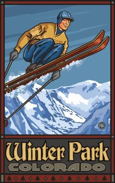 Steamboat Colorado Ski Jumper Travel Art Print Poster by Paul A. Lanquist x Winter Park Colorado, Skiing Colorado, Colorado Resorts, Steamboat Springs Colorado, Timberline Lodge, Sun Valley Idaho, Vintage Ski Posters, Rock Climbing, Switzerland
