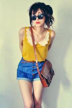 denim shorts, round sunnies, scalloped collar