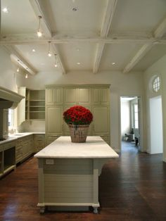 lime washed beams and finishes Love this look for your kitchen!