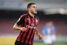 Davide Calabria of AC Milan in action during the serie A match between SSC Napoli and AC Milan at Stadio San Paolo on August 25 2018 in Naples Italy Italian League, Naples Italy, Ac Milan, Stock Pictures, Sports, Mens Tops, August 25, Action, San