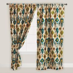 Gold and Teal Ikat Aberdeen Cotton Curtain | World Market