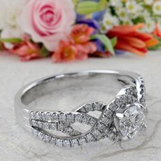 14k White gold Twist Diamond Engagement Ring Halo