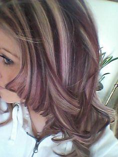 Violet and blonde highlights