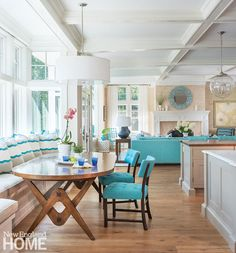 breakfast nook with turquoise accents