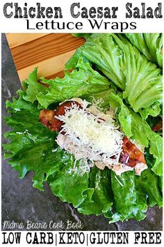 Perfect to pack for work lunches, these low carb chicken Caesar salad lettuce wraps are loaded with cooked chicken, caesar dressing, crisp bacon and fresh parmesan cheese. These lettuce wraps are keto approved and gluten free! Healthy Sandwich Recipes, Low Carb Recipes, Salad Recipes, Lunch Recipes, Wrap Recipes, Easy Recipes, Dinner Recipes, Diet Plan Menu, Keto Meal Plan