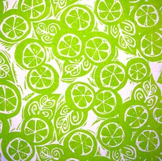 'Freshly Squeezed' Lino Cut Repeat Design by Plum Jam. Hand printed tea towels available at felt.co.nz