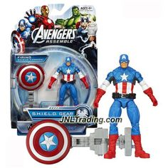 Hasbro Year 2013 Marvel Avengers Assemble S.H.I.E.L.D. Gear Series 4 Inch Tall Figure - Shield Blast CAPTAIN AMERICA with Shield Launcher and Shield