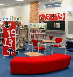 Maybe taller mobile bookshelves to separate the teen space? Image detail for -Teen area at the new Oadby Library  Cool Teen Space