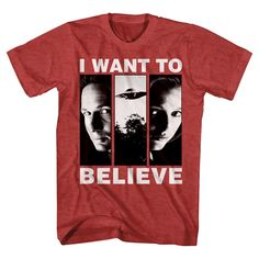 X-Files Men's I Want to Believe T-Shirt Red Heather
