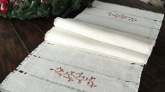 Burlap Table RunnerHand Embroidered Table by HotCocoaDesign, $32.00