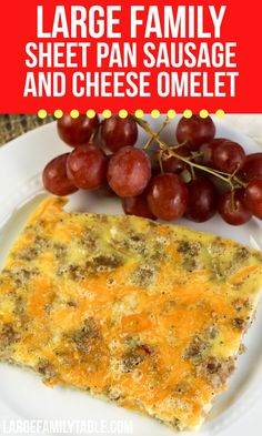 Large Family Sheet Pan Sausage and Cheese Omelet Ground Sausage, Cooking For A Crowd, Yummy Food, Tasty, How To Make Breakfast, Omelet, Cheddar Cheese, Sheet Pan, Omelette
