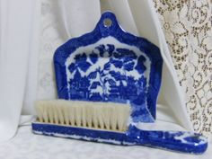 Asian Oriental Chinese Blue Willow Butler Crumb Catcher Pan Tray Sweeper Brush | eBay