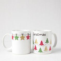 Tazas navideñas con calcas de porcelana, una manualidad perfecta para hacer con niños #manualidades
