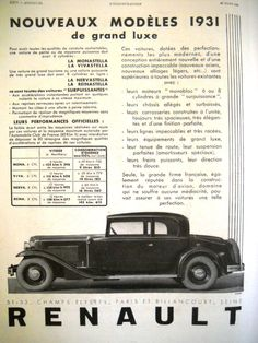 RENAULT original art deco ad, vintage advertisement from L'Illustration, 1931 - pinned by pin4etsy.com