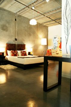 Concrete floors and wall can add radiant heating beneath the floor  by Pangaea Interior Design, Portland, OR