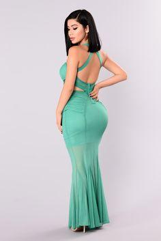 Cassia Mesh Dress - Sea Green
