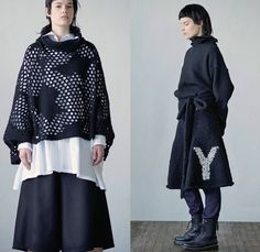 Y's Yohji Yamamoto 2016-2017 Fall Autumn Winter Womens Lookbook Presentation - Paris Fashion Week Mode à Paris France - Frayed Raw Hem Denim Jeans Patchwork Flowers Floral Russian Upholstery Jacquard Wide Leg Trousers Palazzo Pants Culottes Outerwear Trench Coat Blouse Long Sleeve Onesie Jumpsuit Coveralls Bib Brace Knit Sweater Jumper Boots Pinafore Dress Pantsuit Blazer Mesh